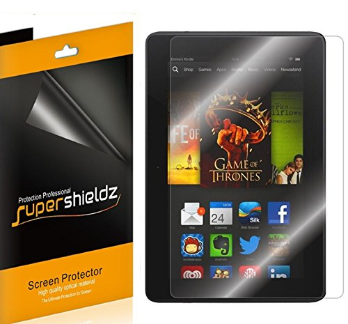 "[3-Pack] Supershieldz- High Definition Clear Screen Protector For Amazon Kindle Fire HDX 7"" 7 inch Tablet + Lifetime Replacements Warranty [3-PACK] - Retail Packaging"