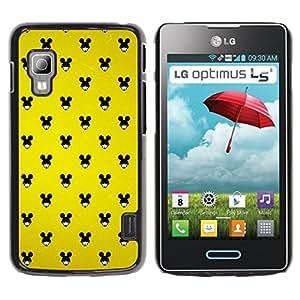 KOKO CASE / LG Optimus L5 II Dual E455 E460 / ratón negro orejas grandes mujer wallpaper pin up / Delgado Negro Plástico caso cubierta Shell Armor Funda Case Cover