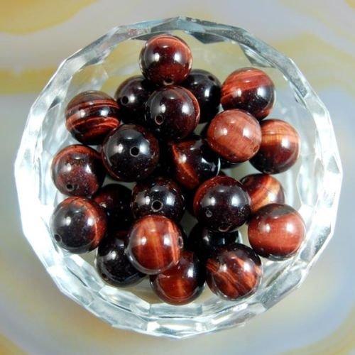 (AD Beads Natural Gemstone Round Spacer Loose Beads (10mm 40pcs, Red Tiger's Eye))
