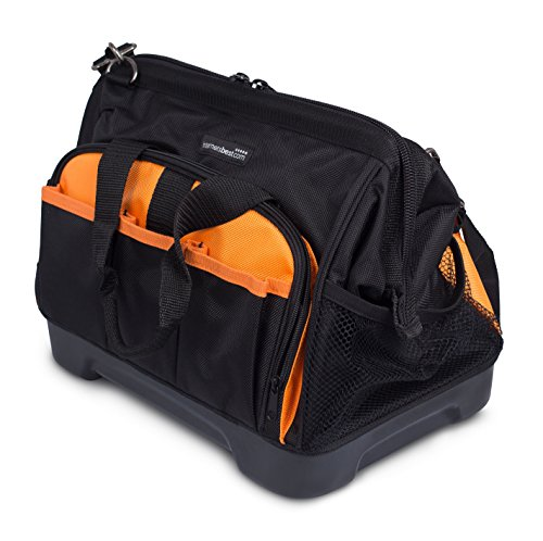 Internet's Best Soft Sided Tool Bag | 14 Inch | 16 Pockets | Wide Mouth Hard Base Tool Storage and Organizer Box