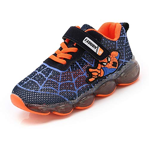 ROKIDS Kids Spider-Man LED Light-up Sneakers Boys Girls Flash Shoes Blue, 13 Little Kid -