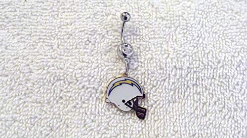 NFL San Diego Chargers Football Charm Belly Navel Ring Body Jewelry Piercing #IS-579