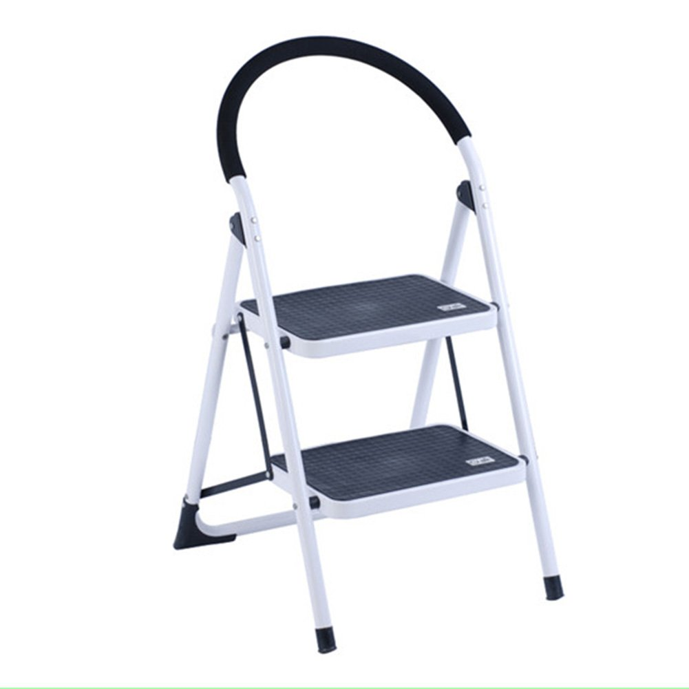 Centurich 2-Step Folding Stool Steel Step Stool Foldable Step Ladder with Rubber Handgrip and Non-slip Treads (White)