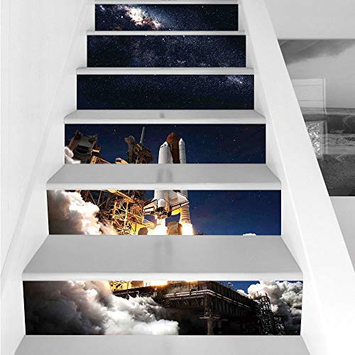 Stair Stickers Wall Stickers,6 PCS Self-Adhesive,Galaxy,Shuttle on Take Off Discovery Mission to Explore Galaxy Spaceship Solar Adventure,Blue White,Stair Riser Decal for Living Room, Hall, Kids Room by iPrint