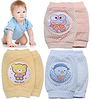 Pro1rise 3 Pairs Baby Crawling Knee Pads Super Breathable Adjustable Cartoon Kneepads Elbow Arm