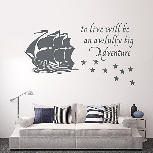 - Wall Decal Decor Peter Pan Wall Decal Quote to Live Will Be an Awfully Big Adventure - Vinyl Sticker Pirate Ship Stars Kids Baby Boy Nursery Decor(dark gray, 12.5
