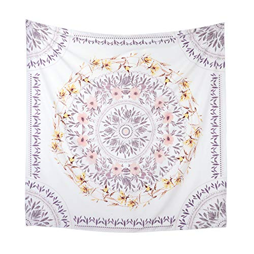 Simpkeely Mandala Tapestry Wall Hanging, Indian Bohemian Medallion Wall Tapestries Sketched Floral Art, Wall Décor for Dorm Bedding Room Living Room 59