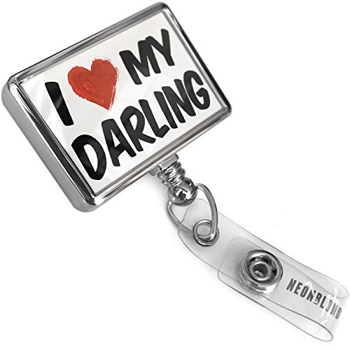 Darling Belt (Retractable ID Badge Reel I Love my Darling with Bulldog Belt Clip On Holder Neonblond)