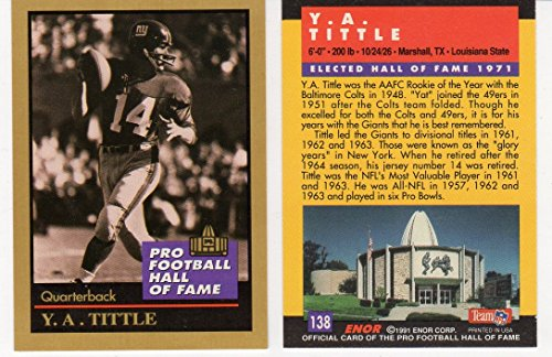 1991 ENOR Hall of Fame Y.A. Tittle New York Giants Football Card