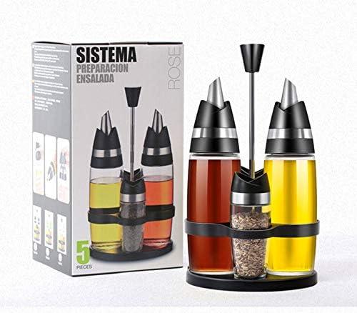 vinagre especias de cocina set de 5 piezas WWF Juego de 3 botellas de aceite de vidrio con tapa abatible para salsa de soja a prueba de fugas