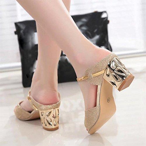 ... Malloom® Sandalen, Sommer Rough Sandalen Frau Open Peep Toe High Heel  Bequeme Schuhe Gold ...