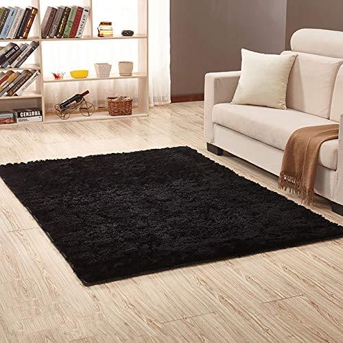 Square Black Shag Rug - THEE Ultra Soft Shaggy Fluffy Area Rug Home Decor Living Room Bedroom Dormitory Carpet Floor Mat