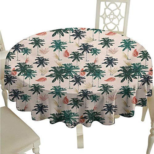 longbuyer Round Tablecloth Tree,Exotic Palm Leaves in Summer Indigenous Hawaiian Foliage Illustration,Fern Green Coral Beige D70,for Spring