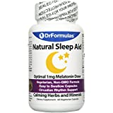 DrFormulas Melatonin 1 mg | Sleep Aid for Kids and Adults with Natural Herbs, L-Theanine, GABA Fast Acting 60 Pills Day Supply