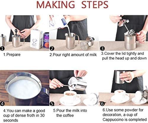 ミルク泡立て器マニュアルミルク泡立たピッチャー泡メーカーミルククリームステンレス鋼コーヒーメーカーラテカプチーノモカ,400ml
