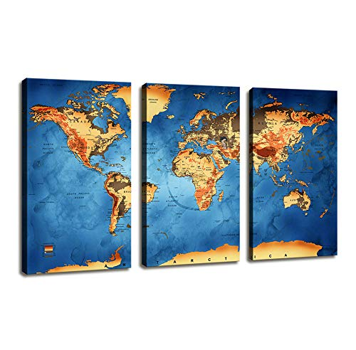 Canvas Wall Art World Map/3 Pieces Large Modern Blue Map Painting Vintage Artwork Contemporary Original Design Wall Decor Travel Memory For Home Office Decor Framed Ready to Hang Overall ()