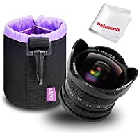 7artisans 7.5mm F2.8 Fisheye Lens for Fujifilm Fuji X-A1 X-A2 X-AT X-M1 X-M2 X-T1 X-T2 X-T10 X-Pro1 X-E1 X-E2 - Black with Protective Lens Cap, Removable Lens Hood and Carrying Bag
