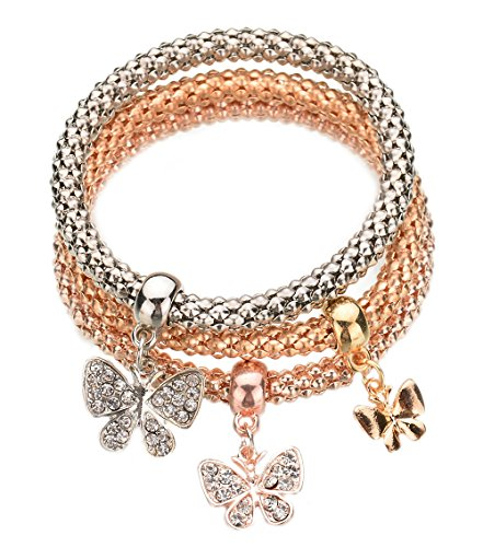 Greendou Stretch Bracelets 3PCS Gold/Silver/Rose Gold Corn Chain Crystal Butterfly Charms Multilayer Bracelets for Women