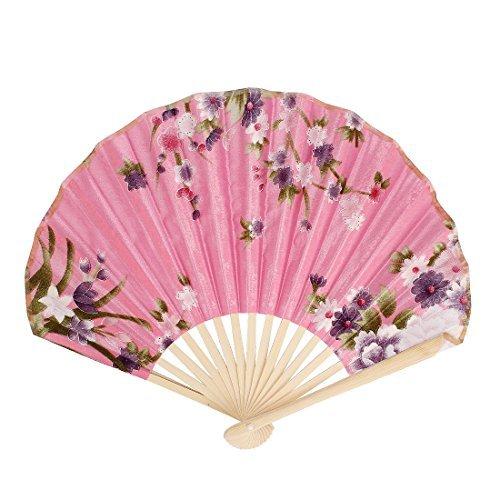 eDealMax bambou Rib imprimé Fleurs Poignée Pliable Éventail Vert Rose