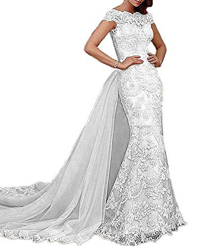 e76c08340416 Alanre Women's Lace Mermaid Cap Sleeves Bride Wedding Dress with Detachable  Train Ivory 12