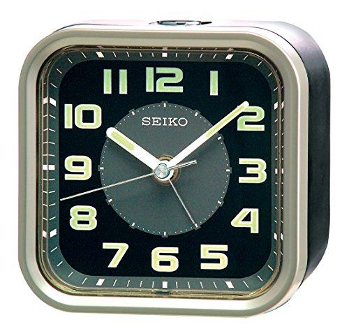 (Seiko Alarm Clock, Analogue, Black, QHE128T)