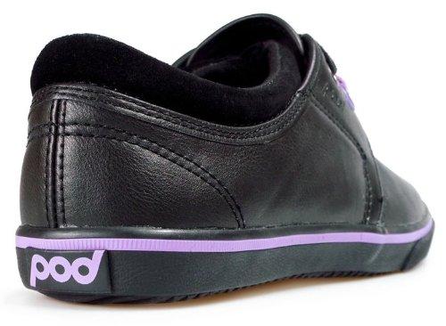 """Pod """"Fiona filles style décontracté Chaussures d'école Noir avec rayures lilas sur la semelle"""