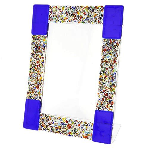 GlassOfVenice Murano Glass Klimt Photo Frame - Blue 4X6 Inch