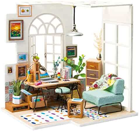 ROBOTIME Miniature Dollhouse Kit Decorations with Lights and Furnitures DIY House Craft Kits Best Birthdays Gifts for Boys and Girls (SOHO TIME)
