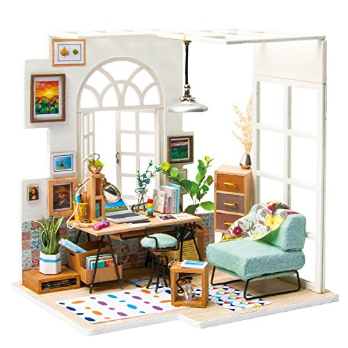 Miniature Art Accessories - Rolife DIY Wooden Miniature Dollhouse Kit with Led Light-Mini House Woodcraft Construction Kit-3d Wooden Puzzle-Model Building Sets-Perfect Birthday for Boys and Girls (Office)