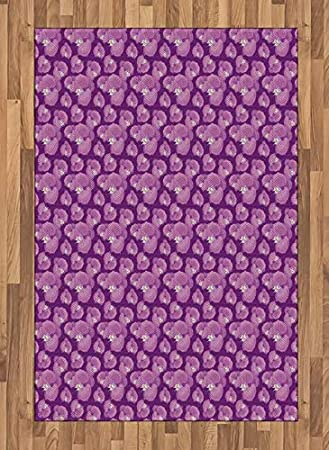 Amazon Com Lunarable Pink And Purple Area Rug Exotic Wild Blooms