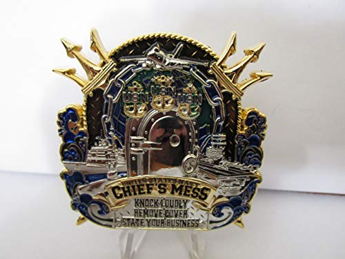 United States Navy Chiefs Mess Knock Loudly Remove Cover State Your Business Challenge Coin ()