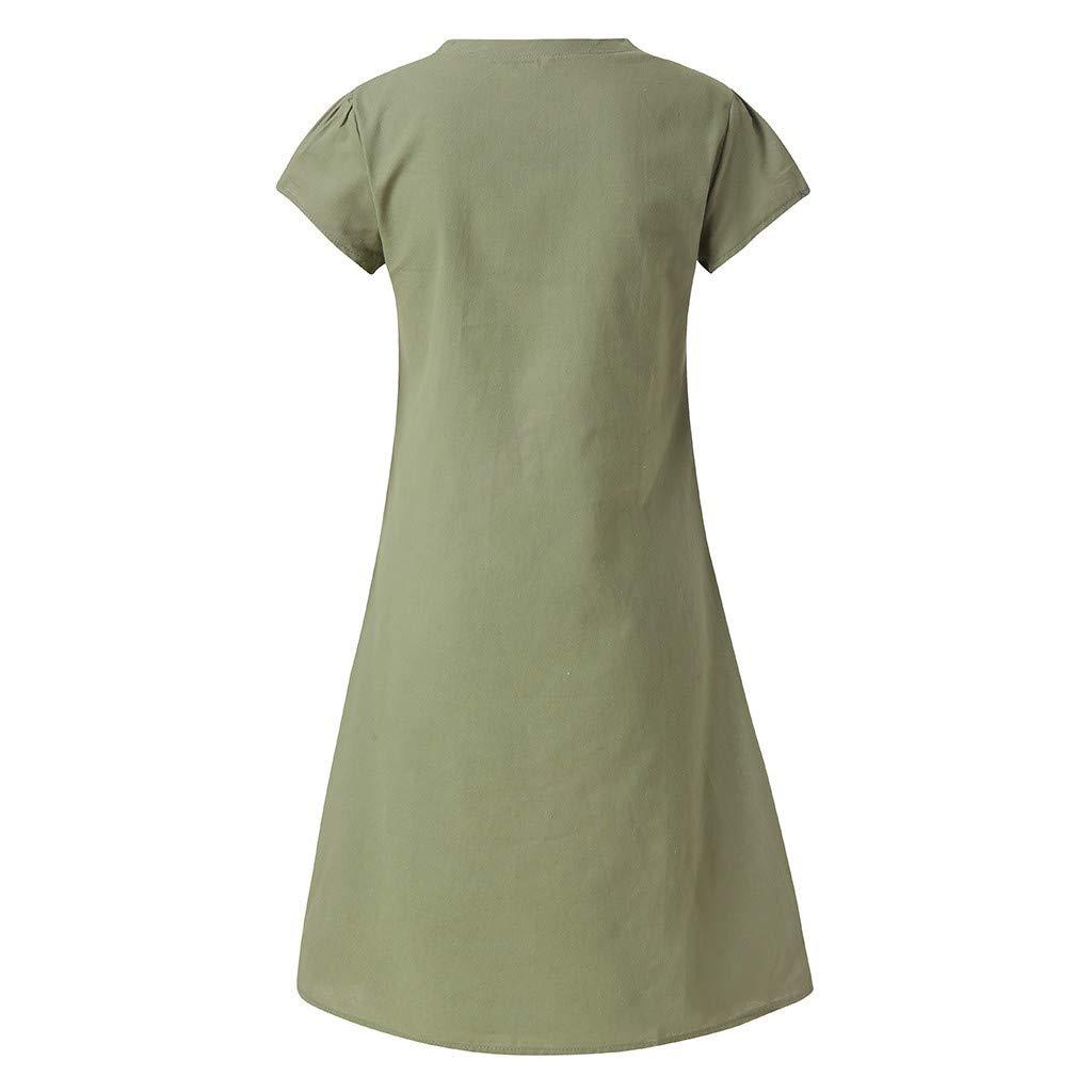 Damen Kleid Kurzarm Lose T-Shirtkleid Casual Tops Gro/ßE Gr/ö/ßE S-5Xl Langes Shirt Tunika T-Shirt Sommerkleid Tshirt Rundhals Minikleid Kleider Breech Mini Kleid