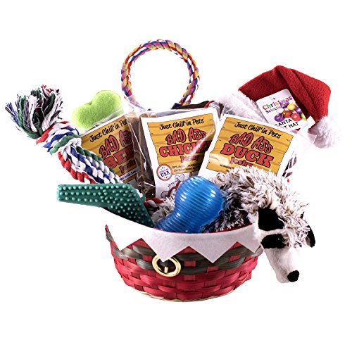 Holiday Dog Toy Gift Basket with Assortment of Durable Dog Toys and Natural Dog Treats with FREE ...