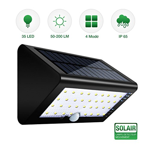 SGODDE Solar Lights Outdoor, Waterproof Wireless 35 LED PIR Motion Sensor Security Lights,4 Modes 600 Lumens Wide Lighting Area Flood Light for Front Door,Backyard,Driveway,Garden,Patio. For Sale