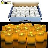 Hakazhi Inc 24pcs Yellow Led Flameless Candle Lamp Votive Bars Holiday Wedding Battery-Powered Electronic Pillar Candle for Decoration for Christmas Halloween Wedding