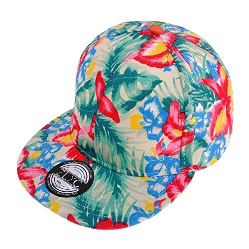 ZLYC Women Fashion Floral Print Adjustable Casual Snapback Baseball Cap Hat - Tropical Snapback