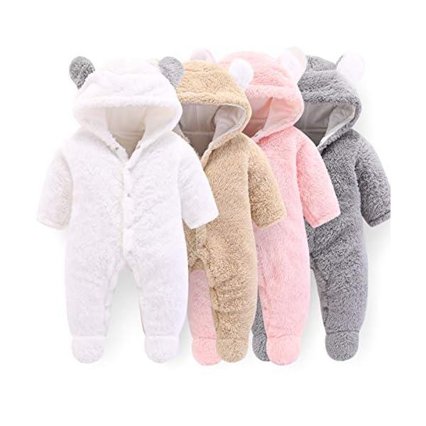 Haokaini - Tutina da Neve per Neonato, in Cotone e Pile, con Cappuccio, per Bambini e Bambine 5