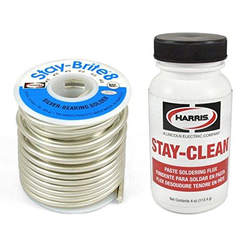Harris Solder Kit SB861 & SCPF4 - Stay-Brite #8 Silver Bearing Solder with Flux (Bearing Solder Silver)