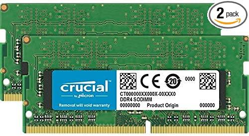 Crucial 32GB Kit (16GBx2) DDR4 2666 MT/s (PC4-21300) DR x8 SODIMM 260-Pin Memory - CT2K16G48FD8266