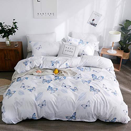 LAMEJOR Duvet Cover Set Queen Size Butterflies/Leavess Pattern Comforter Cover Bedding Set (1 Duvet Cover+2 Pillowcases) Blue
