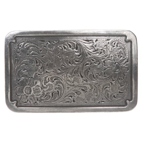 Western Rectangular Floral Antique Belt Buckle (Silver Buckle Floral)