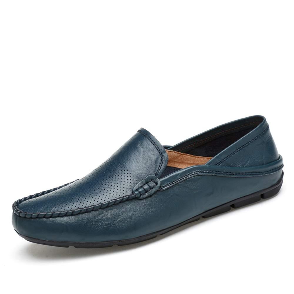 HolFaible bleu 38 EU Chaussures en Cuir pour Hommes Chaussures décontractées pour la Conduite Basse Chaussures de Ville en Cuir Souple de Couleur Unie (Creux en Option),Chaussures de Cricket