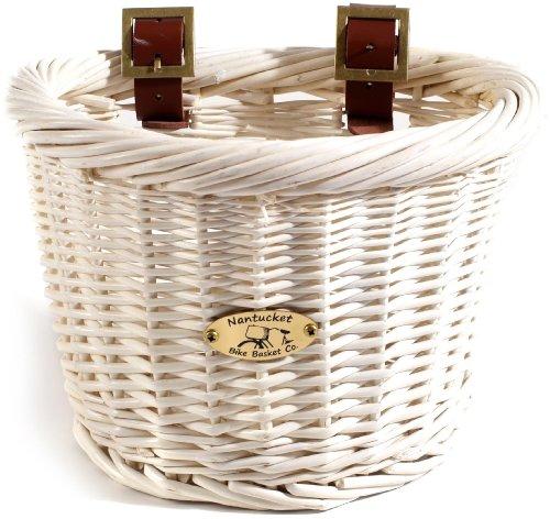 Nantucket Bike Basket Co Cruiser Collection Child-Size Bicycle Basket (White, 10 X 7.5 X 7.5)