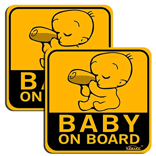 GAMPRO Set of 2 Lovely Baby ON Board Reflective Vehicle Bumper Magnet, Reflective Vehicle Car Sign Sticker Bumper for New Parents, Reduce Road Rage and Accidents for New Parent and Child(2 Pack)