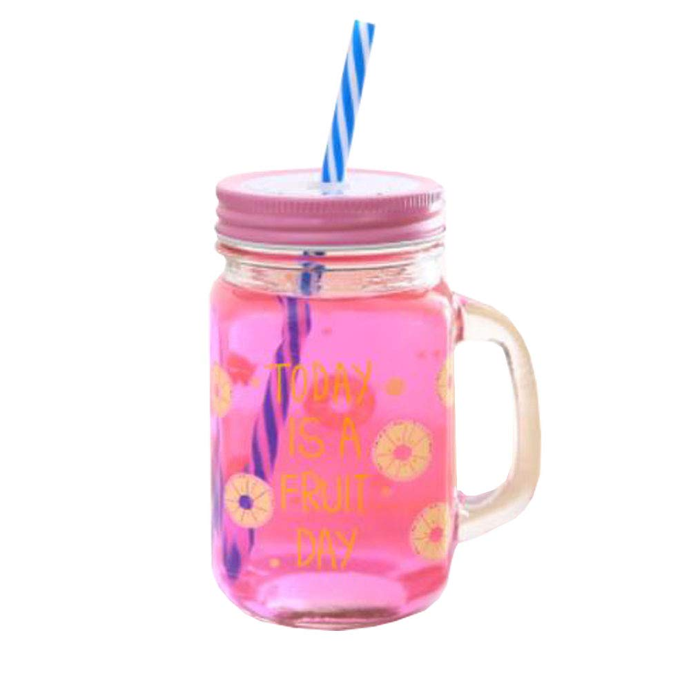 Chinashow Mason Jar Mugs with Handle and Lid and Plastic Straws Decorative Clear Glass Tumblers Old Fashioned Drinking Glass Fruit Pink