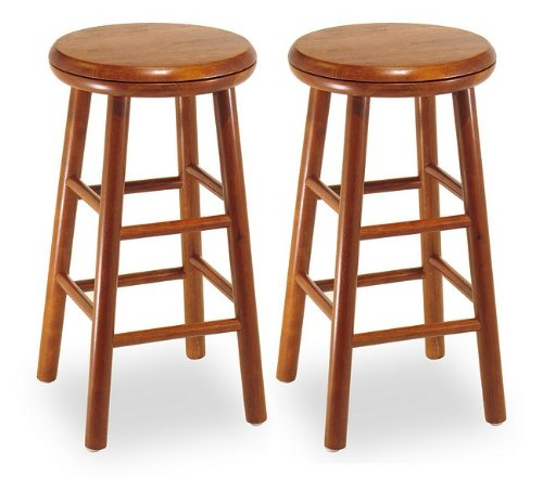 Winsome Wood 30-Inch Commander Beveled Seat Bar Stool - Set of 2 - Winsome Cherry Bar Stool
