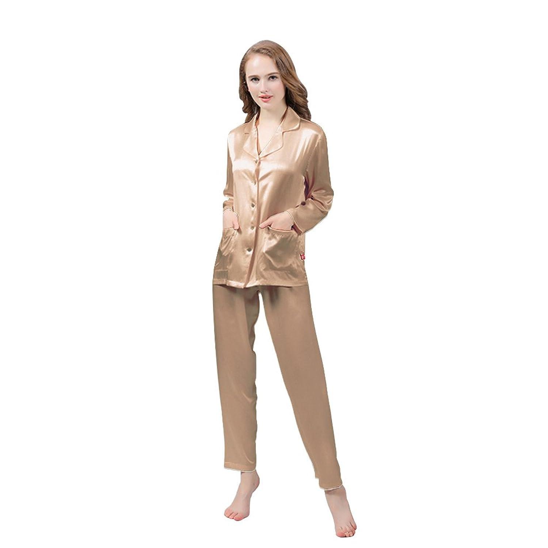 LULUSILK Damen 19 Momme Langarm Seide Pyjama Set Nachtwäsche Schlafanzug Set