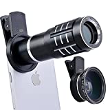 Top Quality HD 12X Telephoto Lens Telescope & 0.45X Wide Angle & Macro Lens for iPhone 7/6S, S7 and more (Black)