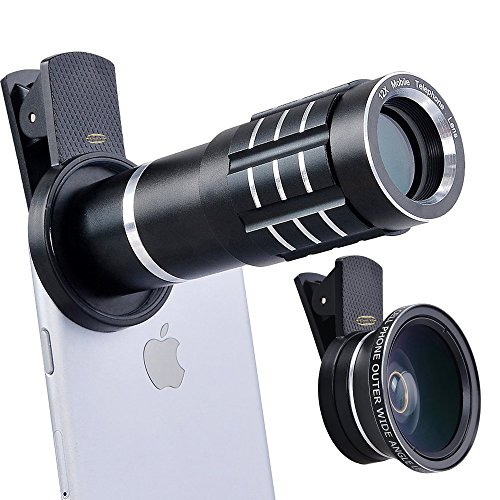 Top Quality HD 12X Telephoto Lens Telescope & 0.45X Wide Angle & Macro Lens for iPhone 7/6S, S7 and more (Black) by Cell XS(TM)