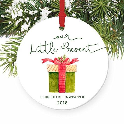 Our Little Present 2018 Pregnancy Announcement Ornament, Expecting Parents Porcelain Ceramic Ornament, 3